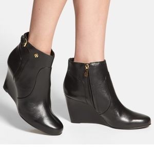 Tory Burch Milan Wedge Ankle Bootie Black Leather